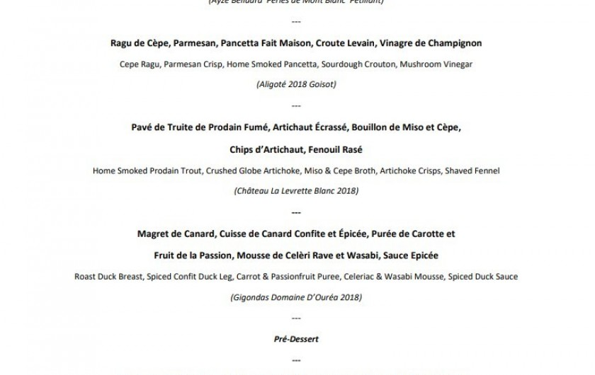 menu degustation