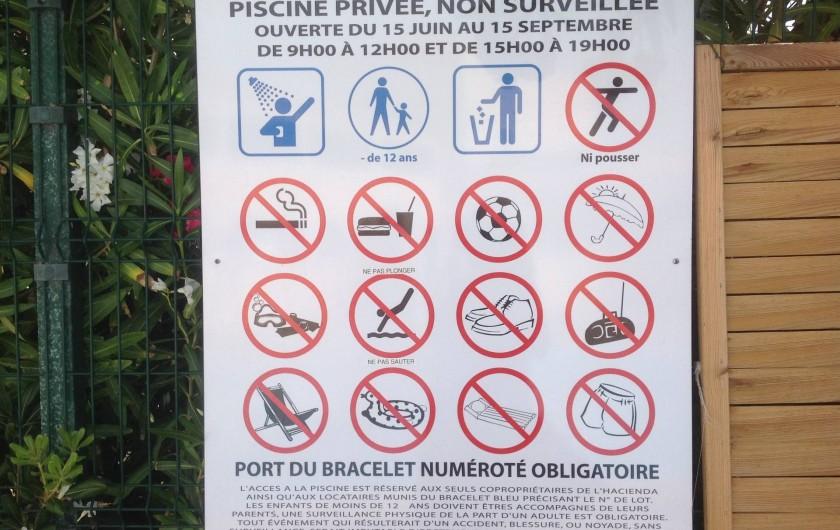 Location de vacances - Appartement à Le Barcarès - règlement piscine