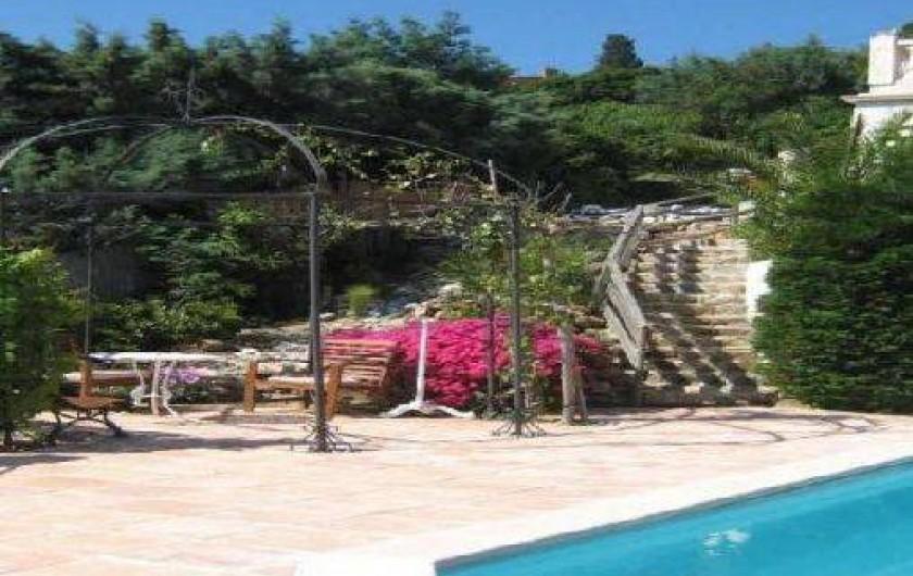 Location de vacances - Appartement à Cavalaire-sur-Mer - Descente appartement  piscine