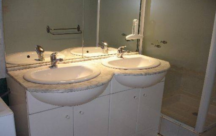"""Location de vacances - Gîte à Segonzac - Gites"""" colombard"""" Salle d'eau avec douche et 2 vasques+ lave linge"""