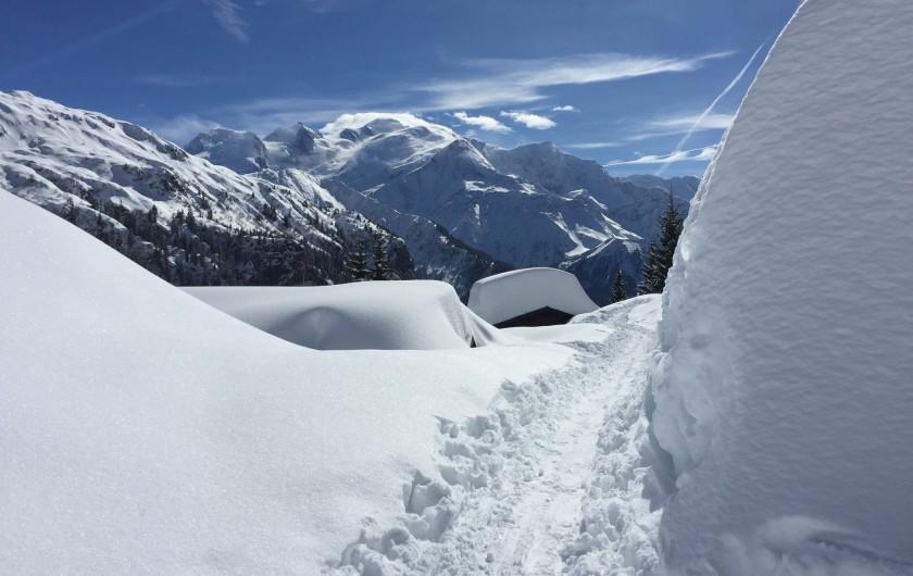 Location de vacances - Chalet à Servoz - Le petit village de Servoz et le clocher à l'assaut du Mt Blanc.