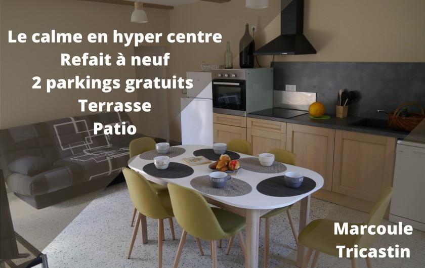 Location de vacances - Appartement à Saint-Paulet-de-Caisson - séjour cuisine climatisé