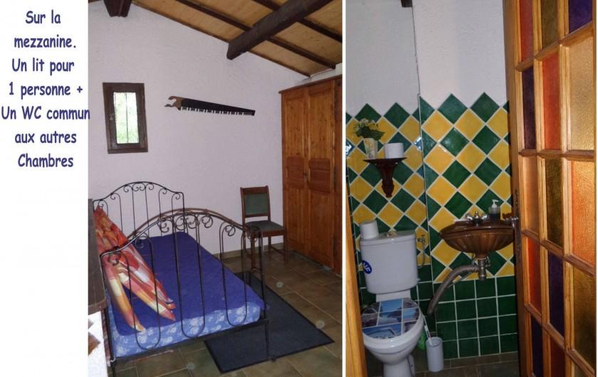 Location de vacances - Villa à Draguignan - Sur la mezzanine un lit d'une personne, au même niveau un wc.