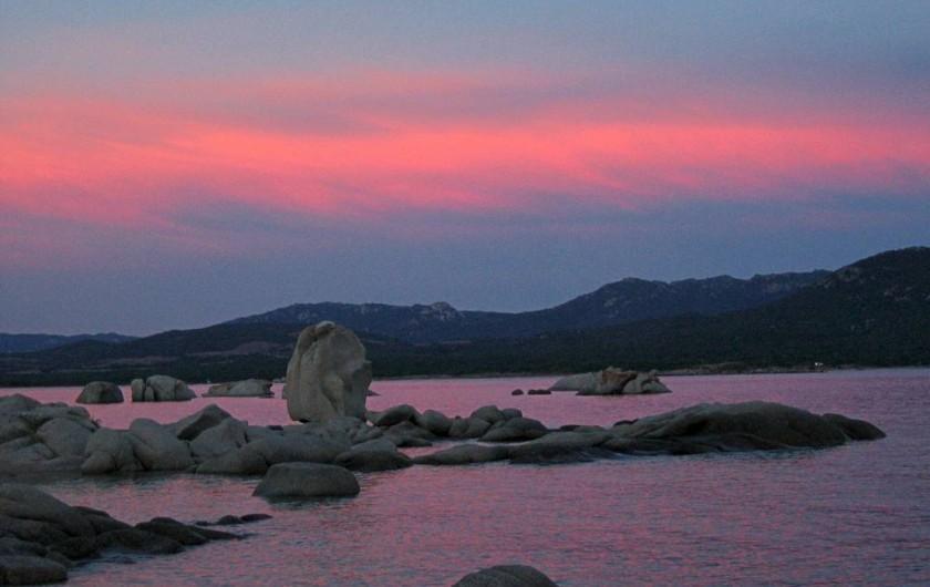 Location de vacances - Appartement à Pianottoli-Caldarello - coucher de soleil sur la plage