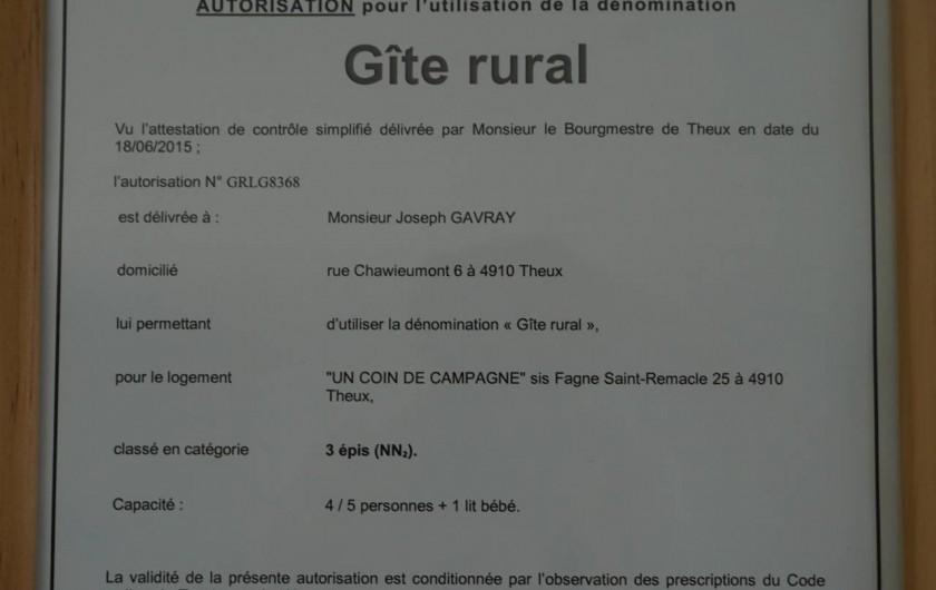 Location de vacances - Gîte à Theux - Gîte rural 3 épis, agréé par le commissariat du tourisme