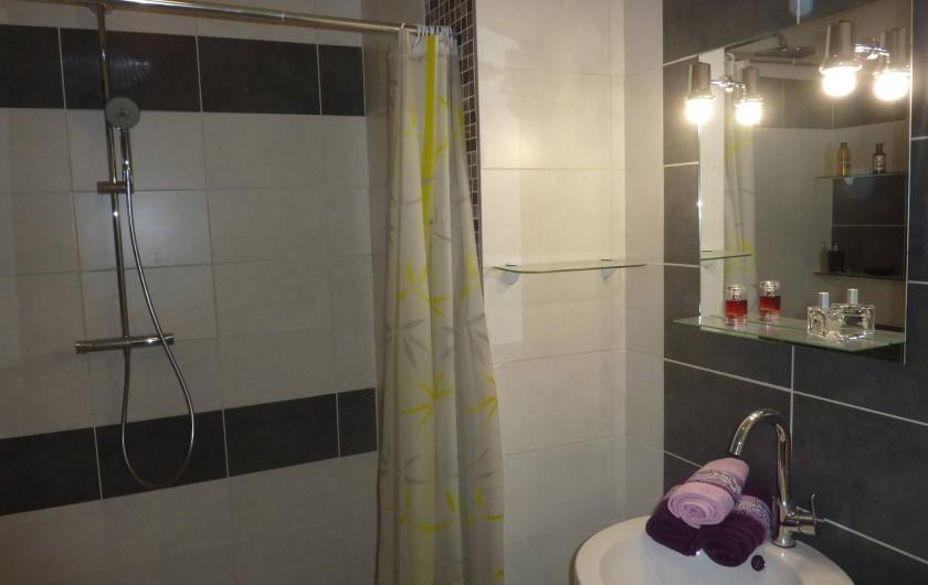 Location de vacances - Villa à Saint-Raphaël - chambre bleue : salle d'eau douche italienne de 160 cm - lavabo totem + WC