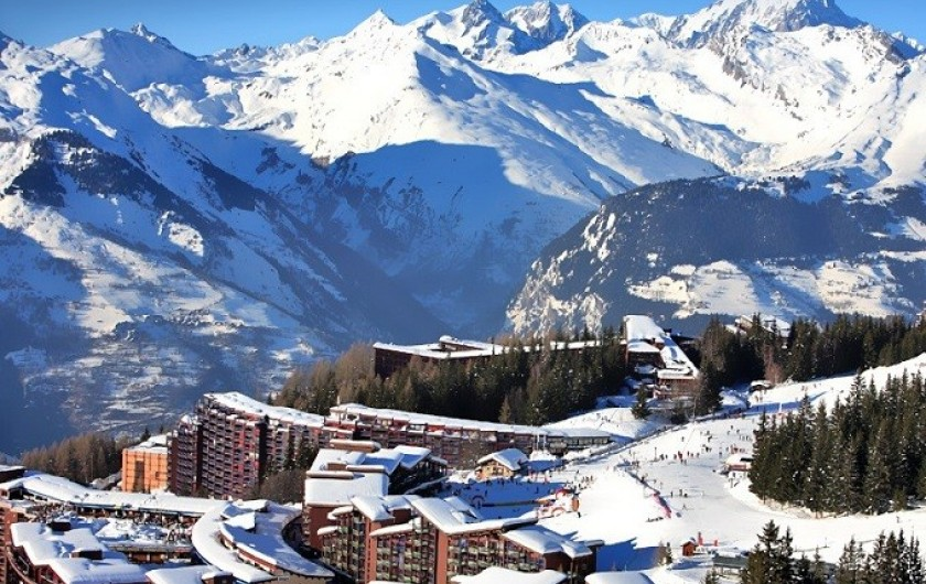 Location de vacances - Appartement à Les Arcs - Arc 1800  Vue sur le Mont-Blanc