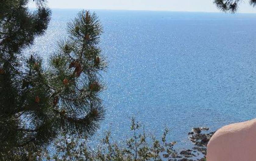 Location de vacances - Villa à Conca - De la terrasse Petit déjeuner face à la mer avec ombre