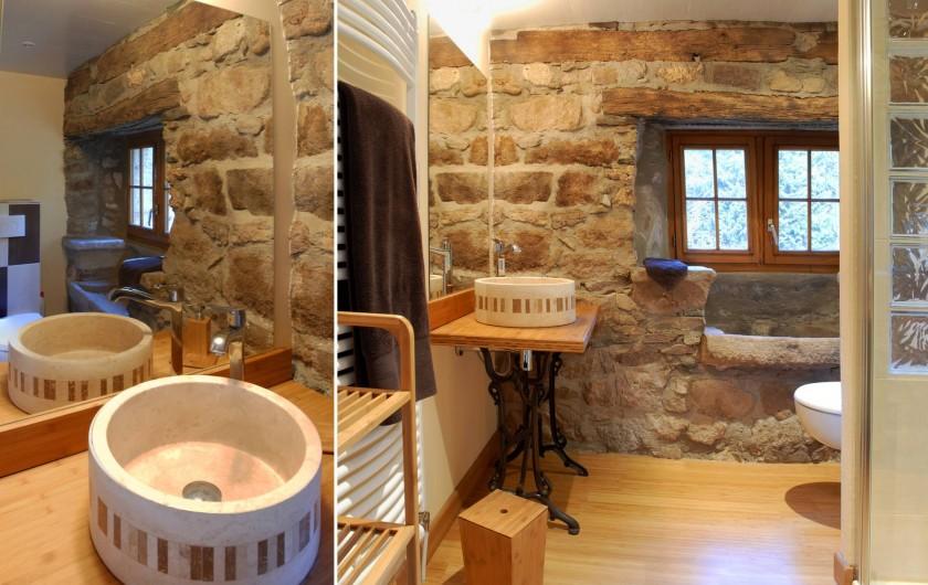 Location de vacances - Chambre d'hôtes à Saint-Laurent-de-Lévézou - Salle de douche chambre de la Cour