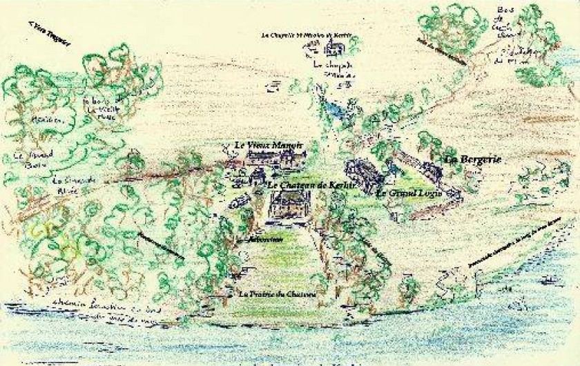 Location de vacances - Château - Manoir à Tréguier - croquis du domaine de Kerhir