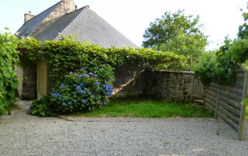 Location de vacances - Gîte à Bieuzy - la cour sud pergola  avec kiwi