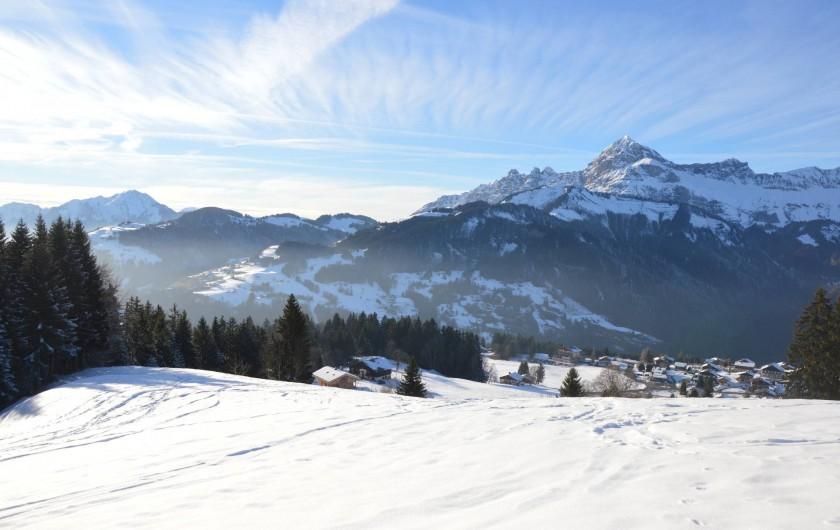Location de vacances - Chalet à Crest-Voland - Vue depuis la piste de ski côté Crest-Voland