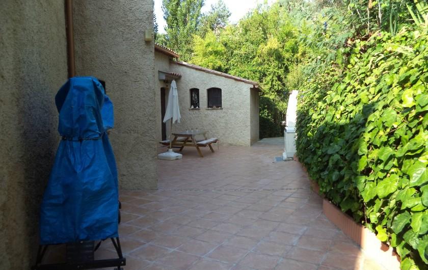 Location de vacances - Villa à Mandelieu-la-Napoule - table de ping pong et cour arrière l'été