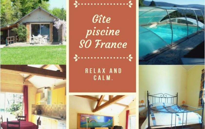 Location de vacances - Chambre d'hôtes à Pont-de-Larn - La terrasse du chalet, aucun vis-à-vis, parking attenant.