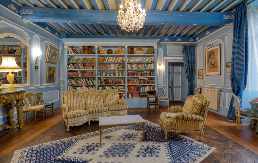 Location de vacances - Château - Manoir à Poligné - Bibliothèque du salon bleu