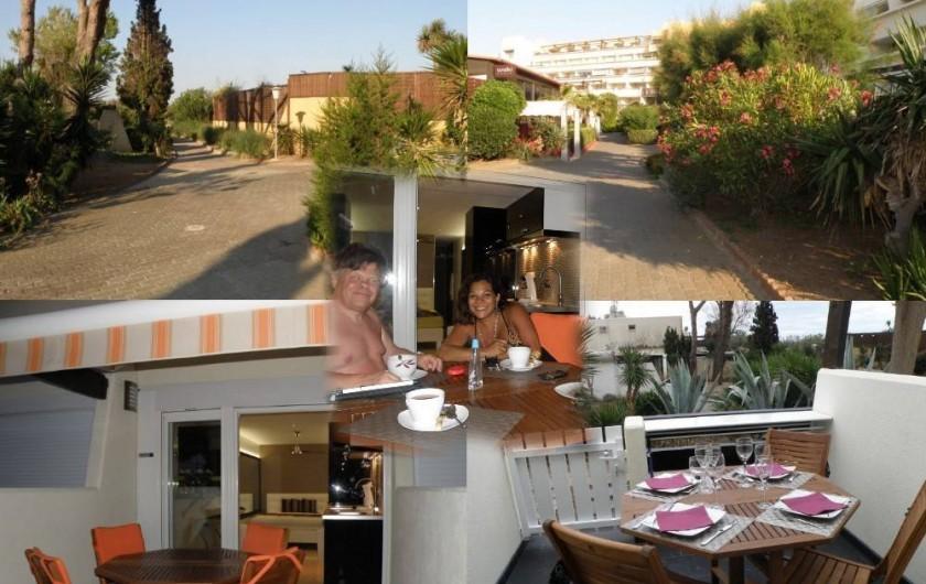Location de vacances - Studio à Le Cap d'Agde - Terrasse plein sud, équipée d'un salon de jardin et d'un store à bannes