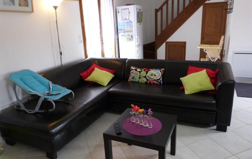 Location de vacances - Gîte à Tours-en-Vimeu - le coin salon donnant sur la terrasse