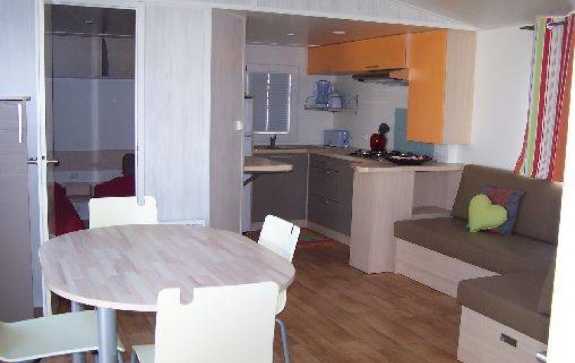 Location de vacances - Bungalow - Mobilhome à Saint-Denis-d'Oléron - salon avec télévision face au canapé lit (complément de couchage )