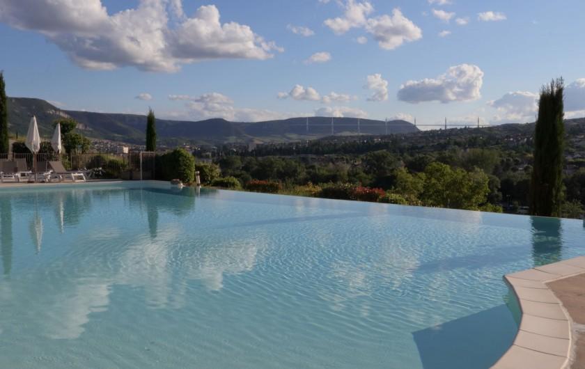 Location de vacances - Bungalow - Mobilhome à Millau - La piscine avec vue