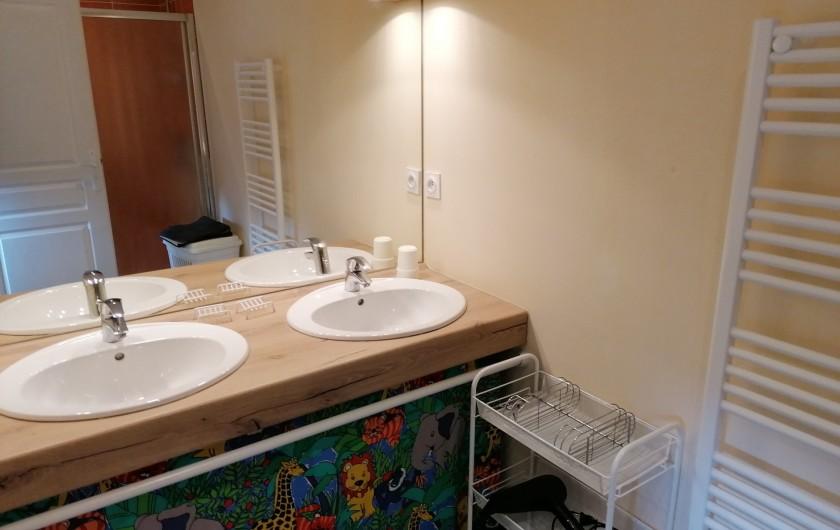 Location de vacances - Gîte à Pomeys - La salle d'eau avec 2 lavabos, sèche-serviettes et sèche - cheveux.