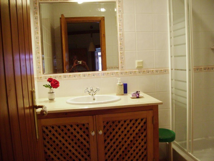 Location de vacances - Chambre d'hôtes à Alcobaça - salle de bains (avec douche) privée du chambre gris