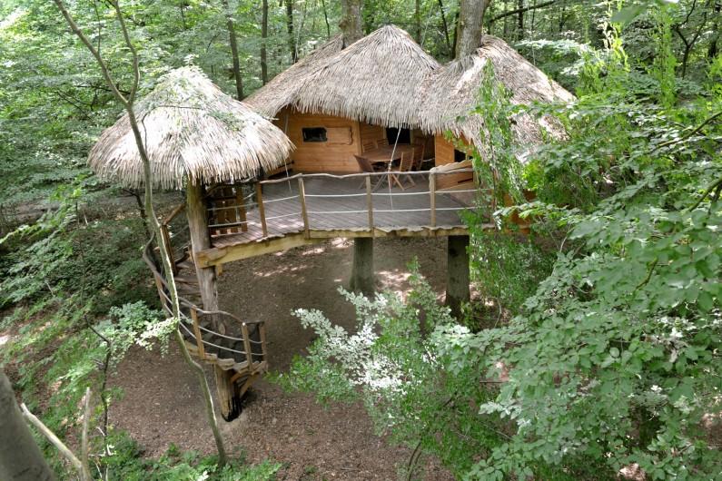 """Location de vacances - Cabane dans les arbres à Saint-Germain-des-Essourts - Cabane """"Robin des Bois"""""""