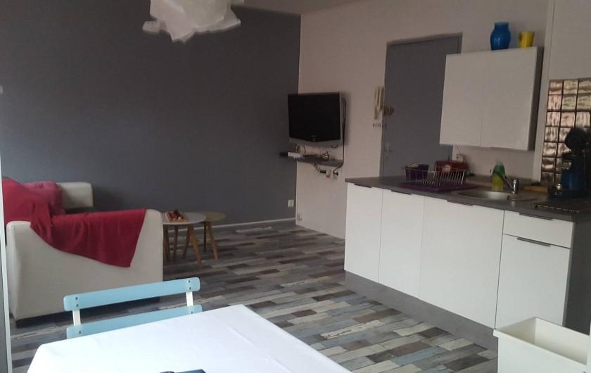 Location de vacances - Appartement à Saint-Étienne - Vous êtes dans le salon ouvert  sur cuisine  avec tout les équipements