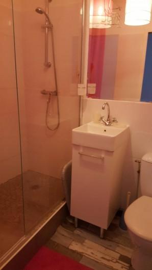 Location de vacances - Appartement à Saint-Étienne - Vous êtes dans la salle de bain avec douche Italienne  et toilette