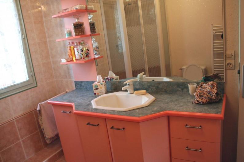 Location de vacances - Maison - Villa à Pléneuf-Val-André - la salle de douche du bas, spacieuse avec plein de rangements !