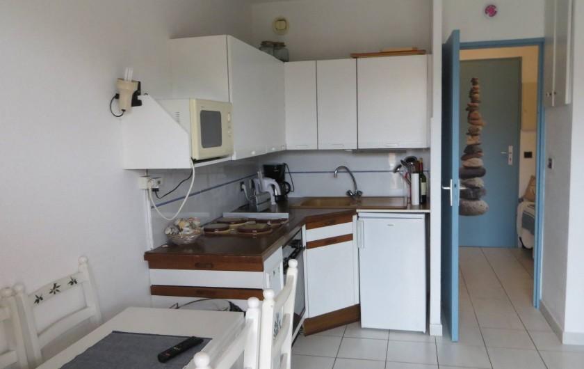 Location de vacances - Studio à La Favière - cuisine aménagée avec four plaques electriques micro ondes etc