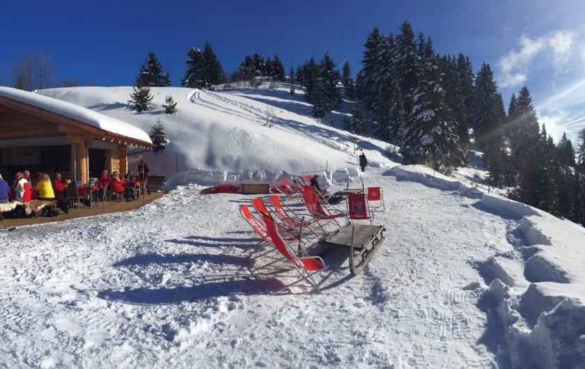 Location de vacances - Hôtel - Auberge à Villars-sur-Ollon - Terrasse panoramique, face au Mont Blanc