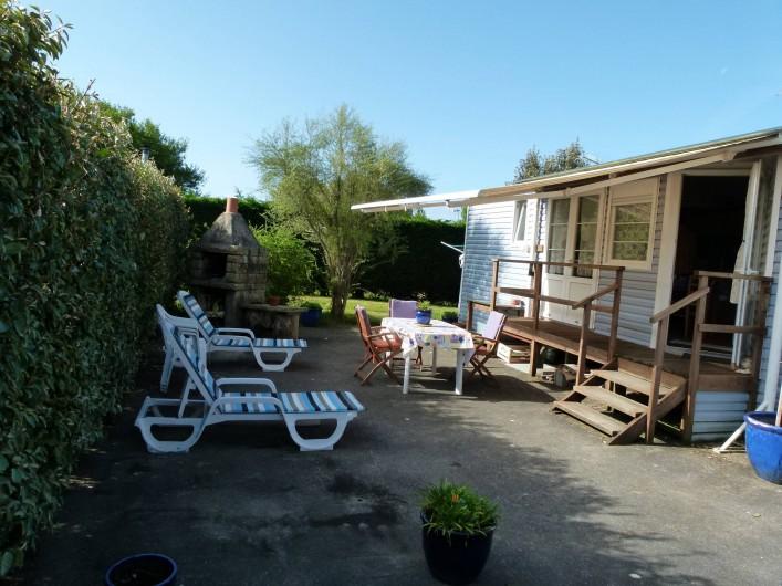 Location de vacances - Bungalow - Mobilhome à Plouhinec - Terrasse mobilehome