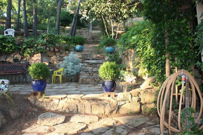 Location de vacances - Maison - Villa à Pietrosella - Terrain arboré et aménagé de petites terrasses en pierres.