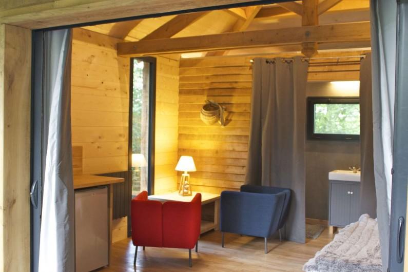 Location de vacances - Insolite à Saint-Georges-des-Sept-Voies - VECOLODGE DE LOIRE  CABANE DANS LES ARBRES. SPA, SAUNA, JACCUZI, MASSAGE