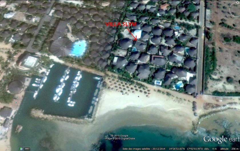 Location de vacances - Villa à Saly - Position exacte de la villa SLYM .. à 30m de sa plage privée