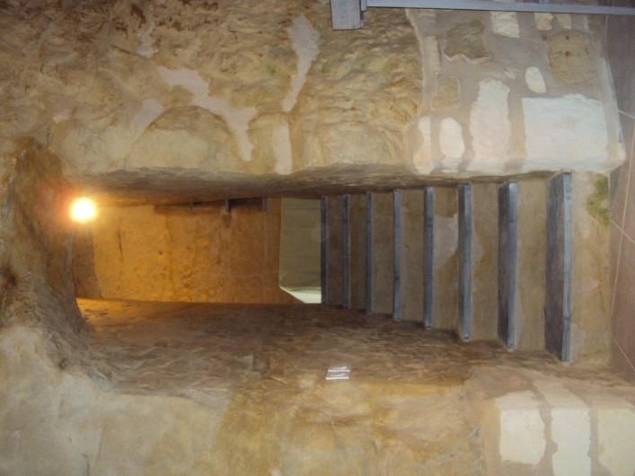 Location de vacances - Gîte à Dénezé-sous-Doué - escalier en ardoises du séjour à la chambre