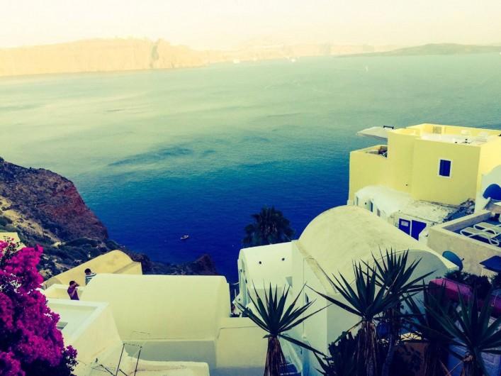 Location de vacances - Appartement à Mesaria - Couché de soleil sur la Caldeira de Santorin !!