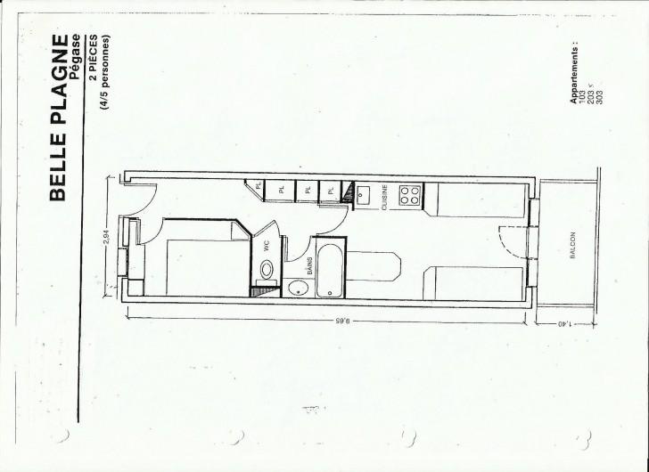 Location de vacances - Appartement à Belle Plagne - PLAN APPARTEMENT