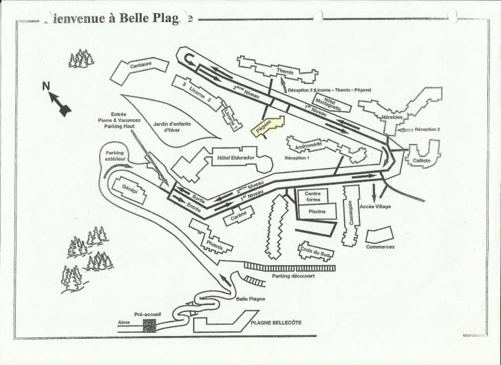 Location de vacances - Appartement à Belle Plagne - SITUATION DANS LA                              STATION