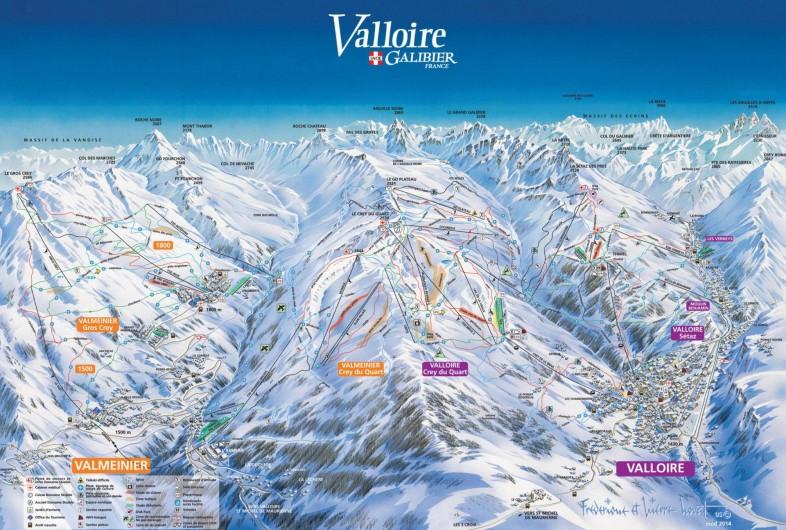 Location de vacances - Appartement à Valloire - Plan du domaine skiable Valloire - Valmeinier