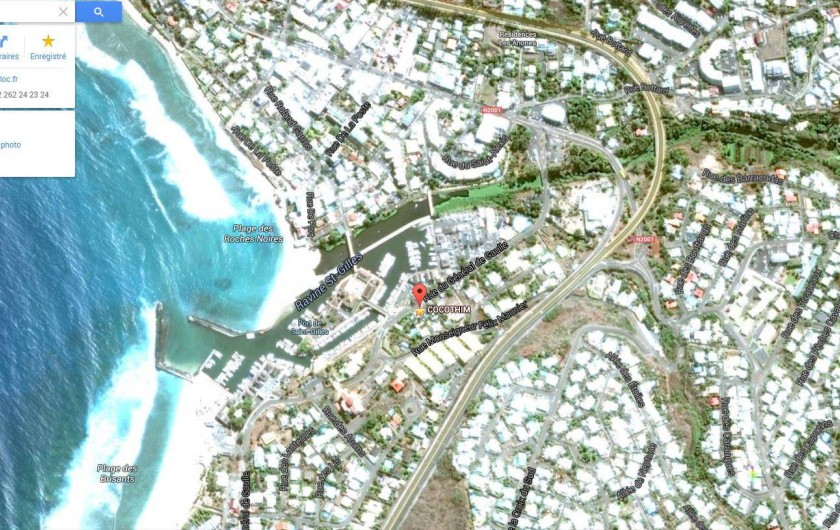 Location de vacances - Appartement à Saint-Gilles les Bains - Vue satellitaire du port Saint Gilles, CoCoThim située par le point rose