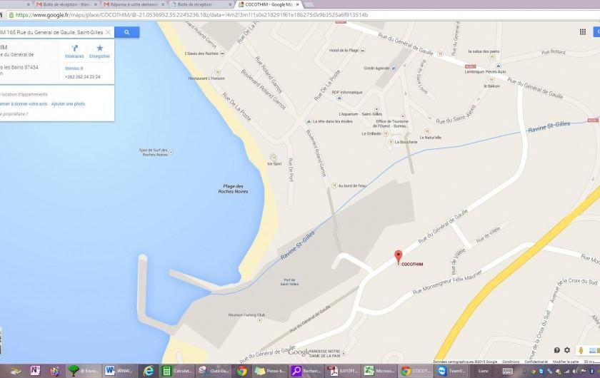Location de vacances - Appartement à Saint-Gilles les Bains - Plan de Saint Gilles, CoCoThim situé par le marqueur rouge