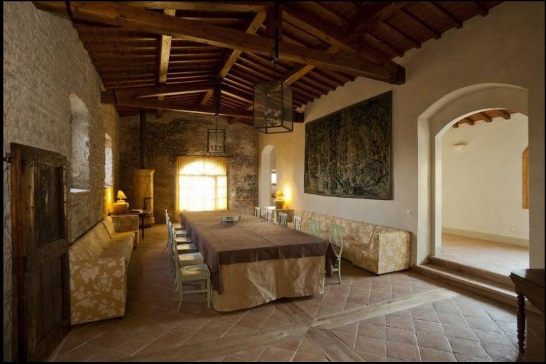 Location de vacances - Villa à San Donato In Collina - Grand salon avec table longue
