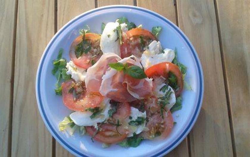 Location de vacances - Chalet à Riotord - Entrée: assiette de tomate mozzarella et jambon cru du coin.