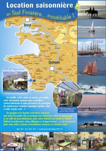 """Location de vacances - Gîte à Saint-Jean-Trolimon - Localisation GPS  """"Ti ar Figezenn"""" Nord : 47° 51' 39"""" Ouest : 4° 17' 49"""""""