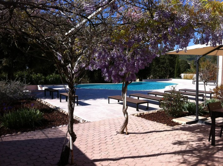 Location de vacances - Maison - Villa à Allemagne-en-Provence - terrasse et piscine