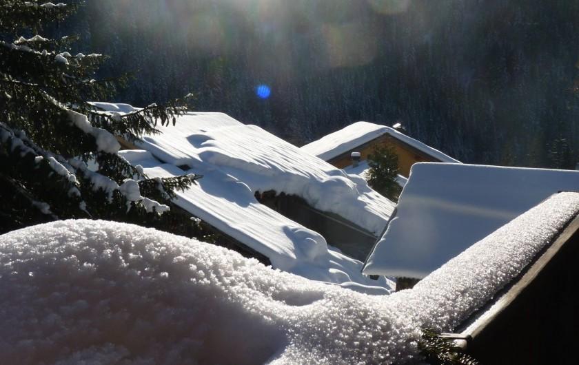 Location de vacances - Chalet à Saint-Gervais-les-Bains - les toits de Bionnassay vu du chalet