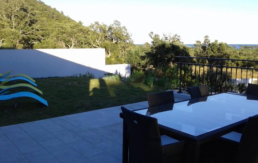Location de vacances - Villa à Sainte-Lucie de Porto-Vecchio - Terrasse avant vue sur Mer