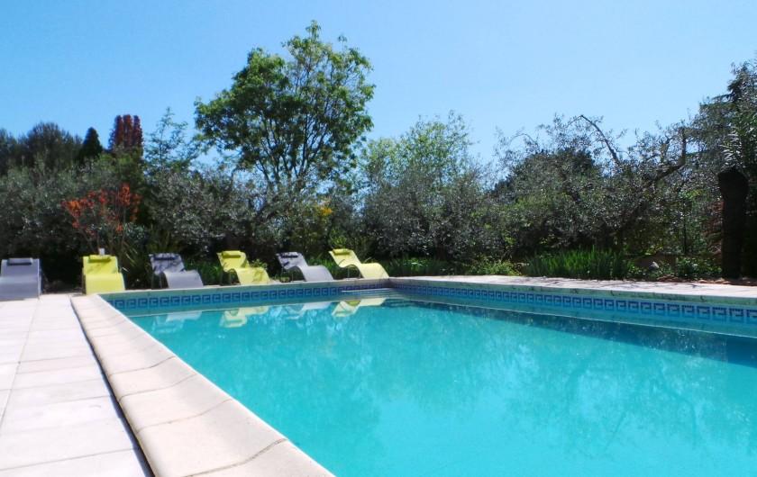Location de vacances - Villa à Bezouce - Piscine réservée au gîte... N'oubliez pas la crème solaire !