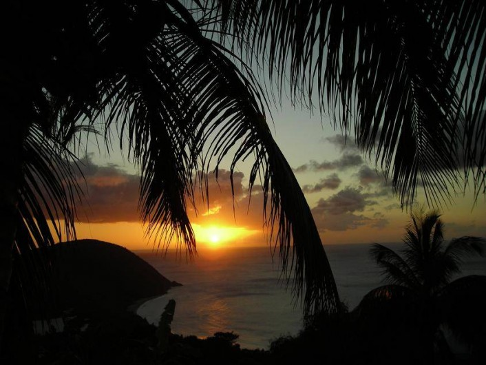 Location de vacances - Appartement à Deshaies - couchers de soleil magnifiques, de toute les couleurs